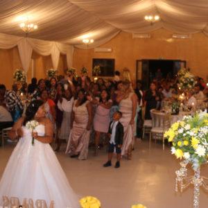 DJ Crispy Wedding Reception Garter Bouquet Toss 1